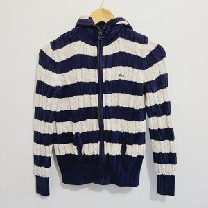 Lacoste Cable Knit Striped Full Zip LOGO Hoodie